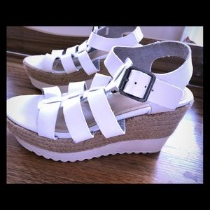 White bamboo wedge espadrilles clogs